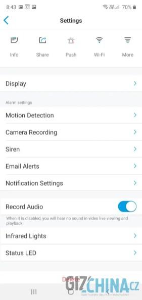 Kameru lze plně nastavit i z mobilní aplikace