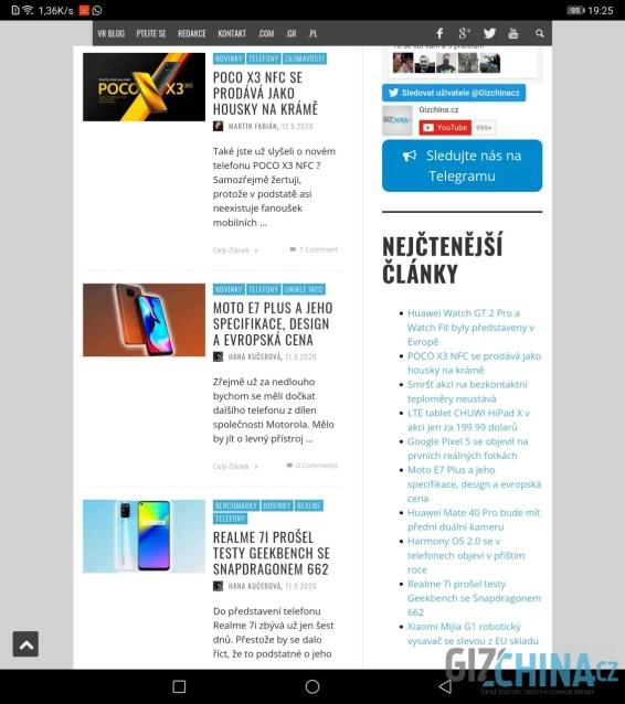 Webové stránky lze pohodlně prohlížet v režimu PC