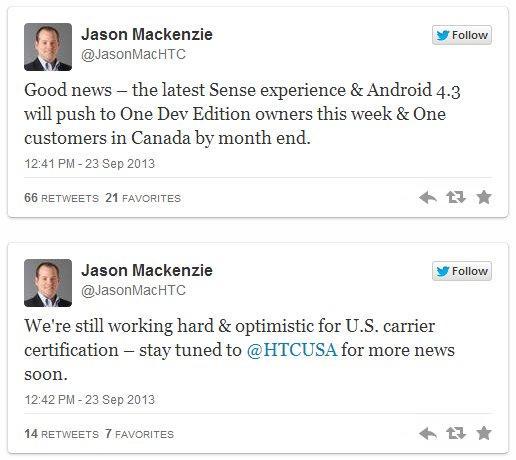 HTC One Jason Mackenzie Android 4.3 Tweet