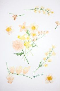 Peach and yellow flowers for a Foreverafternoon Invitation Suite