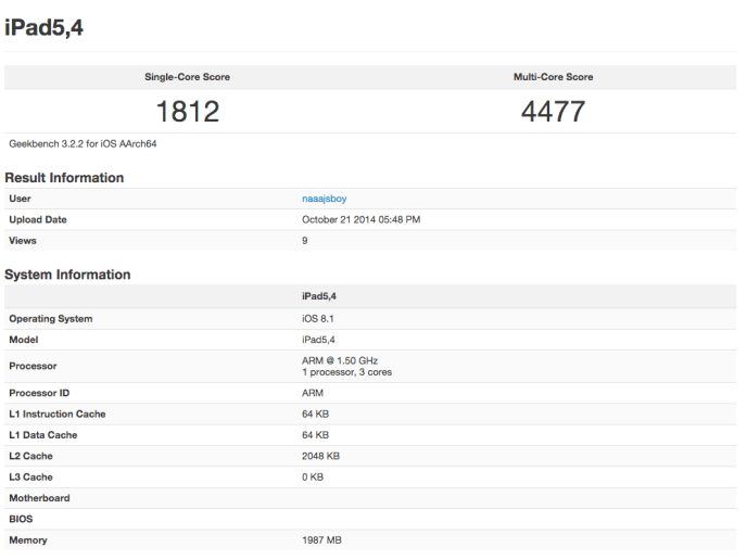 ipad air 2 geekbench