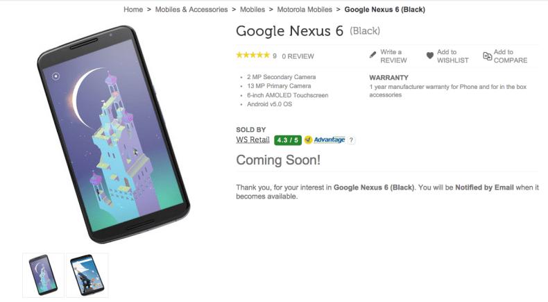 nexus 6 flipkart