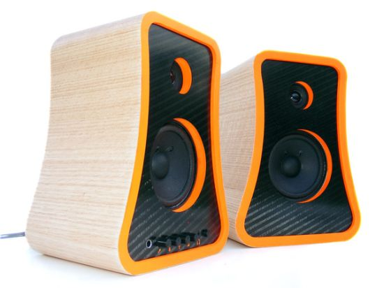 Carbon fibre and wood speakers
