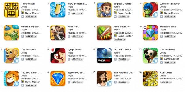 Jogo na App Store brasileira.