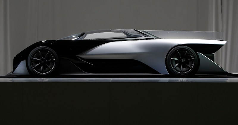 IMAGE DISTRIBUTED FOR FARADAY FUTURE - Faraday Future (FF) FFZERO1 Concept vehicle at FF's pre-CES reveal event in Las Vegas on Monday, Jan. 4, 2016. (Bizuayehu Tesfaye/AP Images for Faraday Future)