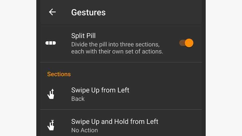 O aplicativo Navigation Gestures