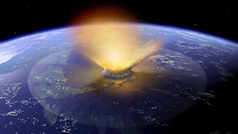Representação artística de um grande asteroide atingindo a Terra