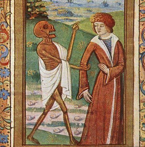 Imagem da morte de um livro de horas francês da década de 1490. Imagem: Commons