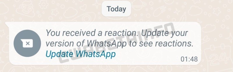 A screenshot taken by the WABetaInfo website indicates that the message reaction feature is being tested
