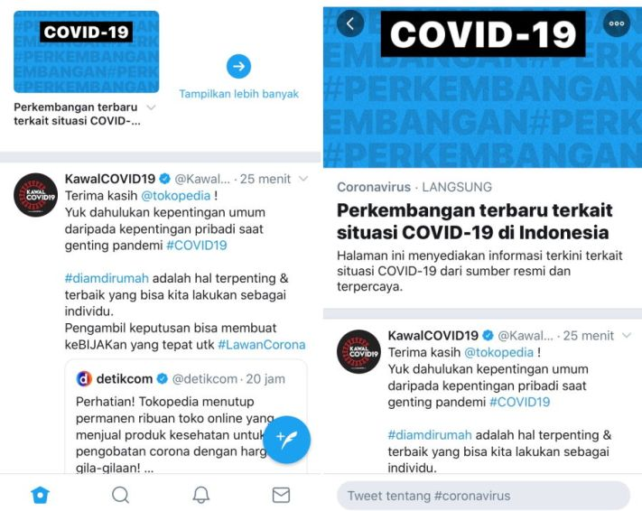 Tampilan fitur event page COVID-19 di Twitter