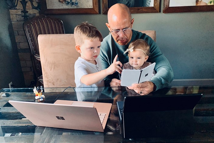 Brad Anderson, Microsoft executive, using Surface Duo at home