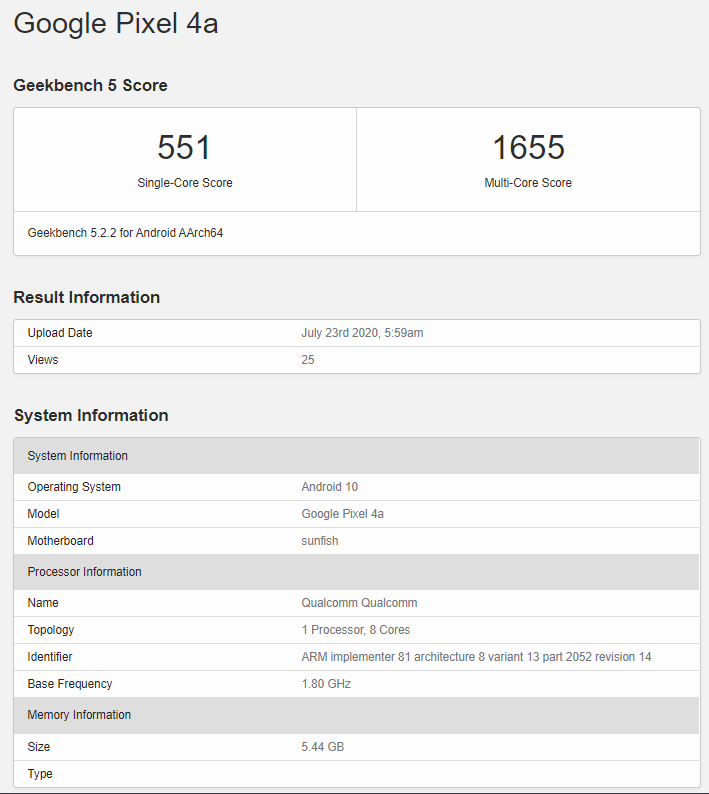 Google Pixel 4a spotted on Geekbench