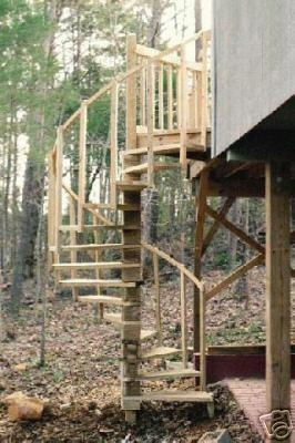 Spiral Stairs For Your Deck Plans | Spiral Staircase Outdoor Deck | Outside Deck | Built Spiral Stair | Balcony Outdoor | Log | 3 Storey