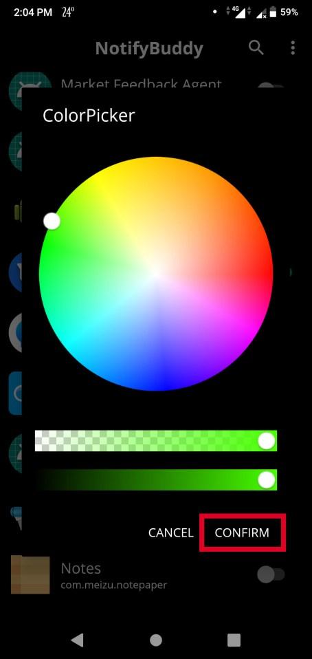 Colors in NotifyBuddy app