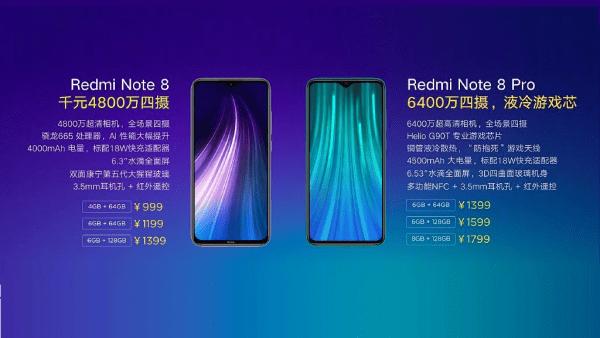 Redmi note 8 price chart