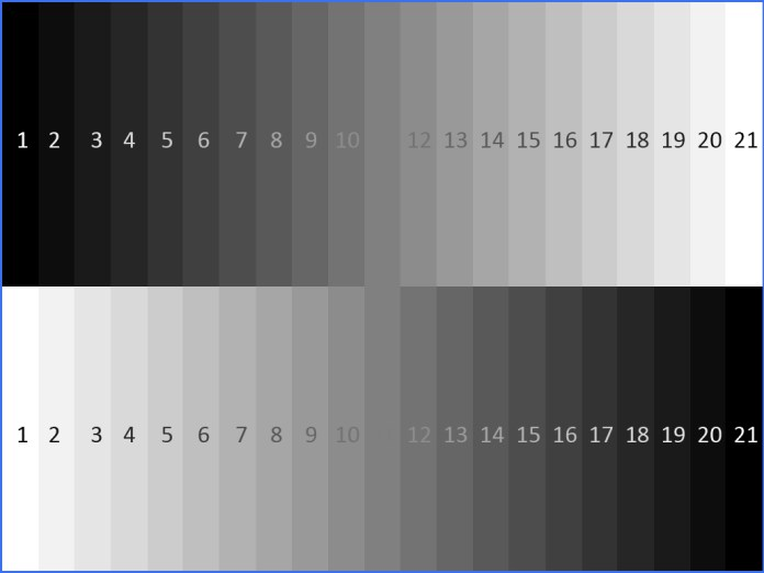 Grayscale value chart with numbers