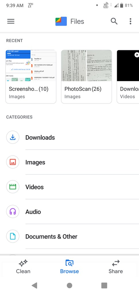 Browse tab in Google file manager