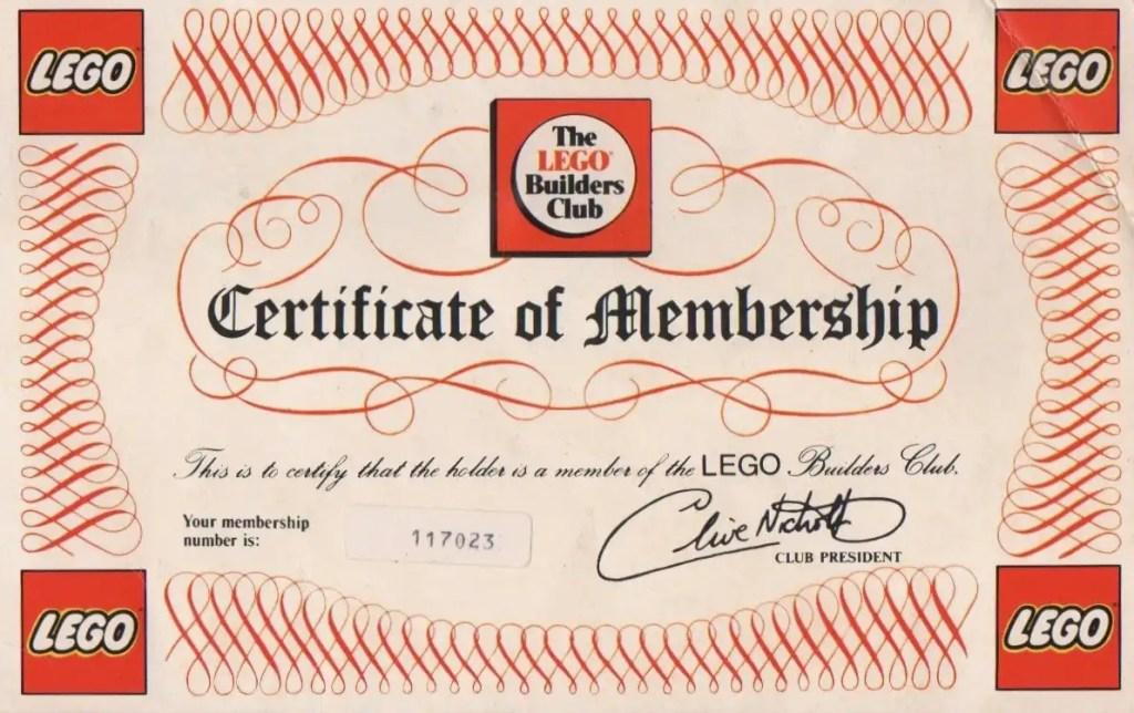 The LEGO Builders Club Membership Certificate
