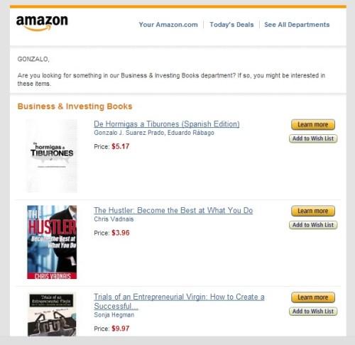 Amazon recomienda... ¡Mi libro!