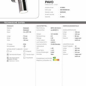 LED-Wandleuchte Pavo Technische Daten
