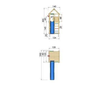 Spielturm-Cabin-Abmessungen