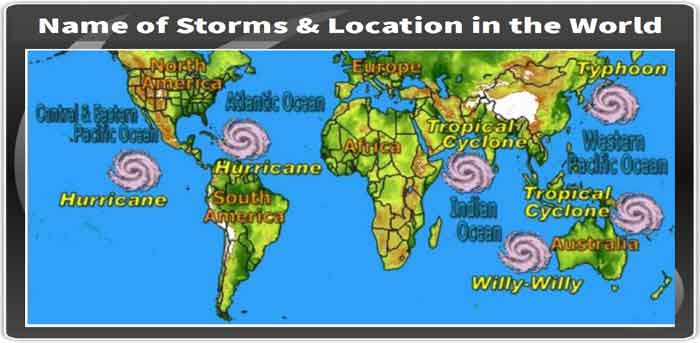 GK> Name of Storms & Location in the World [PDF]