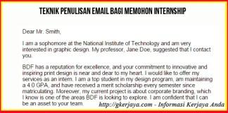 Cara Menulis email permohonan Intership