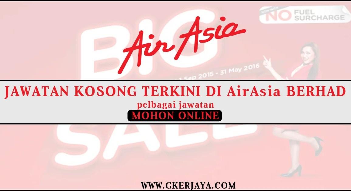 Airasia vacancy include Internship mohon secara online