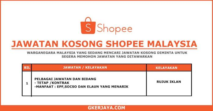 Iklan jawatan Kosong Shopee - Pengambilan Secara Online (1)
