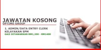 Jawatan Kosong Admin Data entry Clerk Optimo Group