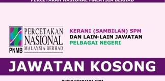 Jawatan kosong terkini Percetakan Nasional Malaysia Berhad