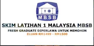 Skim Latihan satu Malaysia MBSB Walk in Interview