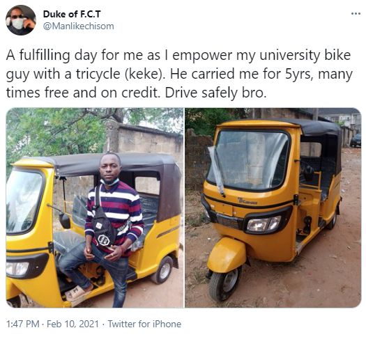 Man Buys New Keke For A Bike Rider Who Sometimes Carried Him For Free During His University Days (Photos) 3