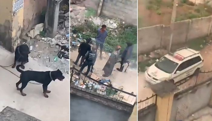 VIDEO:- Hilarious Moment Dogs Prevent Heavily Armed Policemen From Entering A Compound In Lagos 1