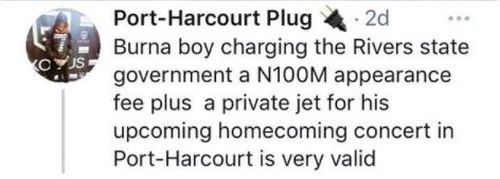 VALID THING or PRIDE?? Burna Boy Charges Rivers State Gov't N100m For Appearance Fee & Private Jet For His Homecoming Concert 3