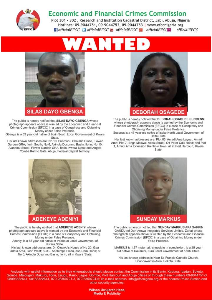 Have You Seen Them? EFCC Is Looking For These Four Persons (Photos) 1
