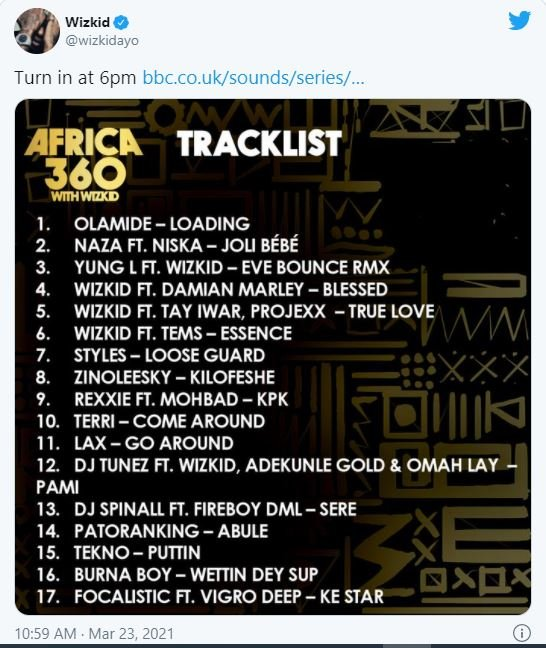 Wizkid Shares His 17 Favorite Tracklist, Excludes Davido's Name (See Full List) 1