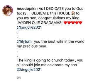 Comedian MC Edo Pikin Shows Off His New House, Dedicates It To His Son (Photos) 1