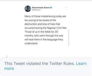 Twitter Deletes Buhari's Tweet Allegedly Threatening South-East (SEE IT) 1