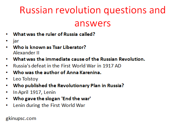 Russian revolution questions and answers