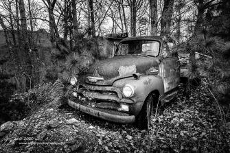 """""""Woodland Chevy"""", Canon 5D Mk3, 16-35mm f/2.8L Mk2, Singh-Ray Color Combo Polarizer, Converted to B&W in Lighroom"""