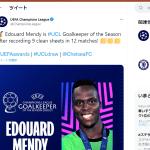 UEFAアウォーズの最優秀GKのメンディはどんなGK?使用するキーパーグローブは?