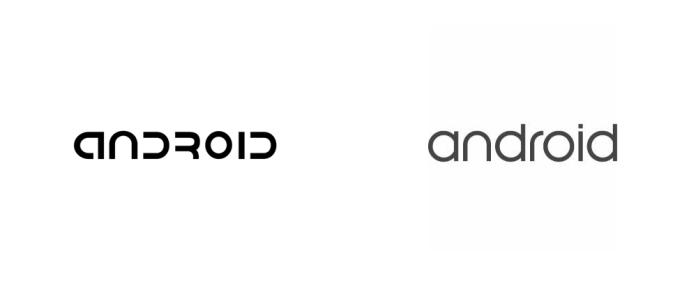 Logo do sistema operacional Android reformulado recentemente pela empresa segue as mesmas diretrizes da marca apresentada hoje pelo Google.