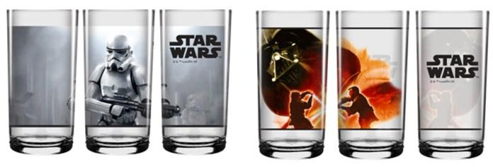 Copos estampados com os Stormtroopers e com a luta de Anakin com Obi-Wan - R$ 12,90 cada