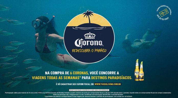 Imagem mostra arte da cerveja Corona para a promoção Redescubra o Paraíso com logo da cerveja e pessoas mergulhando ao fundo.
