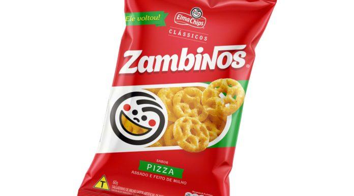 Embalagem do salgadinho Zambinos em destaque.