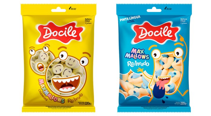 Dois dos seus novos produtos da Docile, o Maxmallows Carinhas e o Pinta Língua.