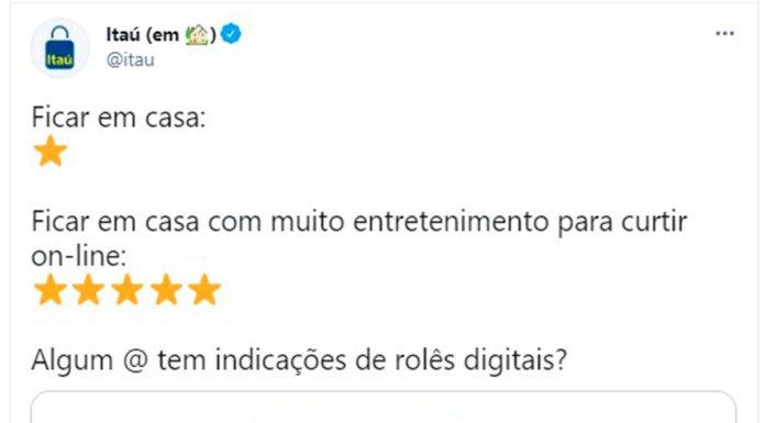 Tuíte do Itaú pedindo indicações no Twitter.