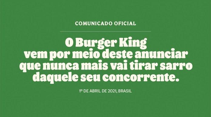 Comunicado falso do Burger King no Dia da Mentira. Nele está escrito: