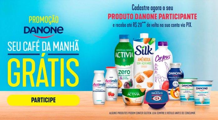 Banner da promoção Seu Café da Manhã Grátis da Danone. Foto com o logo, informações e produtos da promoção.